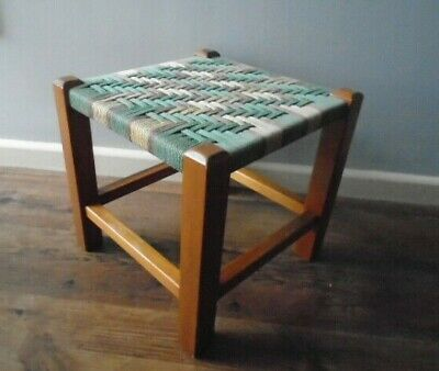 Lovely Rustic Small Stool with Wooden Legs & Colourful String Top - 29cm high