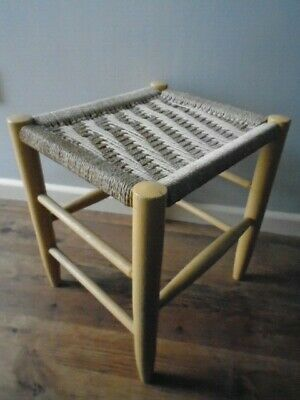 Rustic Small Stool with Painted Wooden Legs & String Top - 37.5cm high