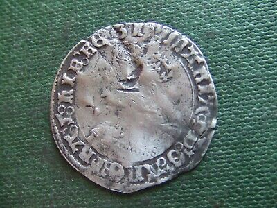 Queen Mary.  1553-1554.  Silver Groat.   Rare  (Some Damage)    Nice Condition.