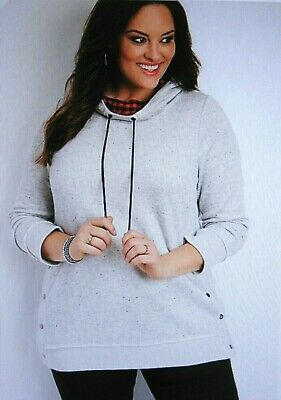 bf5b3086d250d0 Maurices~New With Tags~plus size snap side plaid hood pullover~Plus Size