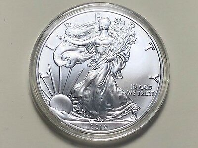 2019 American Silver Eagle 1 oz Gem BU Coin In Capsule  ASE119