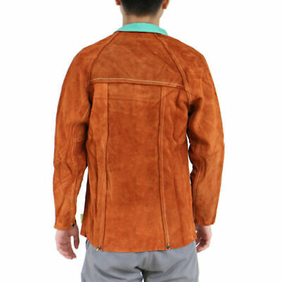 FJ- Durable Welder Jacket Cowhide Leather protecting Welding Coat Safety Contain