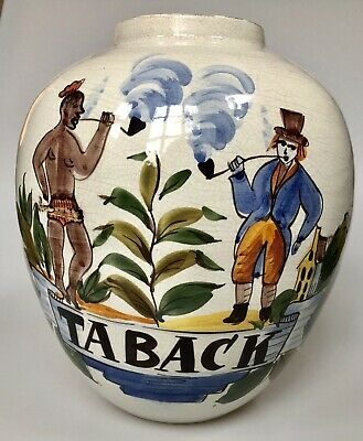 Antique Early 20th Century Polychrome Delft Tobacco Jar Signed To Base