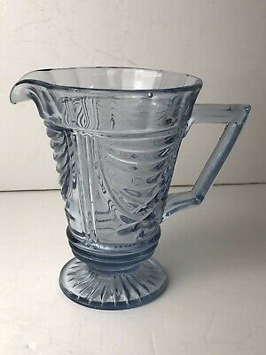 Lovely Vintage Art Deco Sowerby Blue Glass Lemonade, Water Jug/Pitcher