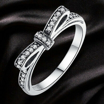 Bow Ring With Sparkling Cubic Zirconia, Free Uk P&P, Various Sizes