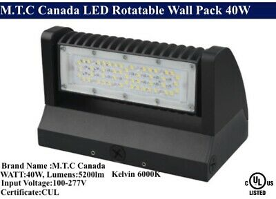 LED Rotatable Wall Pack 40W 6000K (Bright white ) 5200lm Input Voltage :100-277V