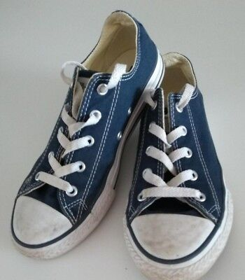 Converse All Star Low Top Navy Blue White Pump Trainer Shoes Kids Size Uk 2 Eu34
