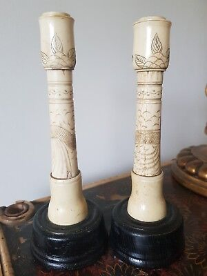 Pair Of Antique Chinese Export Carved Bone Candlesticks