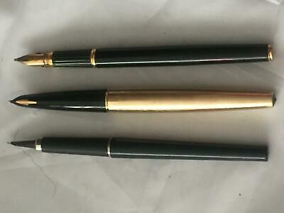 three vintage fountain pens without lids
