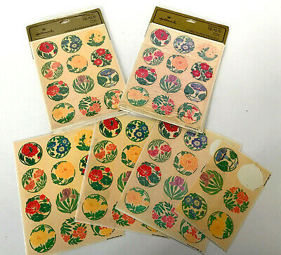 Vintage Hallmark Floral Spring Stickers 12 Sheets Round Seals Mixed Flowers Lot
