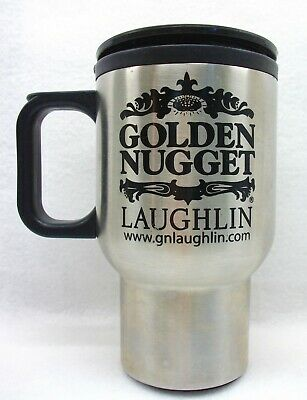 Golden Nugget Hotel Casino thermal travel mug with lid Laughlin Nevada NICE