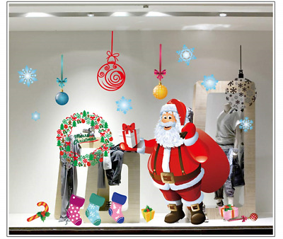 4 SheetsChristmas Santa Claus Christmas Tree Window Clings Decal Wall Stickers