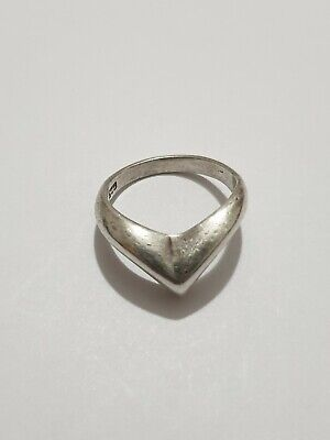 Solid Silver Wishbone Design Ring 925 Solid Silver Size L~L1/2 weight 3.4 gram