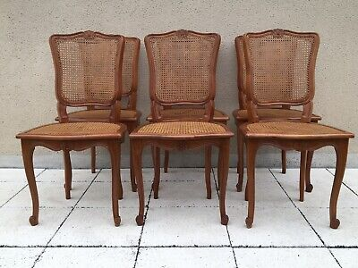 Vintage French Set Of 6 Bergère Cane Dining Chairs Louis XV Style