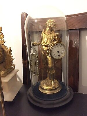 Ormolu Mantel Clock With Glass Dome Very Unique Post 1900's Working