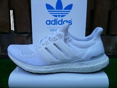 super popular 4e212 ae787 ADIDAS ULTRA BOOST 80s casuals UK 8.5 BNWT 2015 ALL TRIPLE WHITE RARE LOOK!