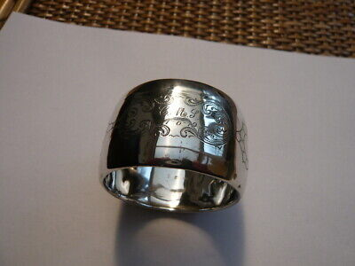 Vintage Old Silver Napkin Ring Engraved 1919 Marked Inside Continental ?