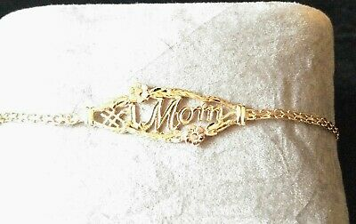 Vintage Estate 10K Two Tone Gold  MoM & Flowers Bracelet 7 inches