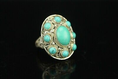 Chinese filigree silver ring with turquoise