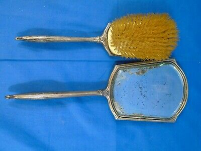 Webster Sterling Silver Handle Two Piece Dresser Set, Mirror and Brush