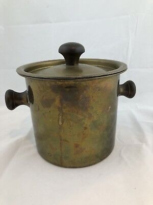 Antique Vintage Large Gatco Solid Brass Bucket Pail Champagne Ice Bucket Bar