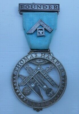 RARE MASONIC FOUNDERS JEWEL FROM THOMAS HARPER LODGE No 9612 - NUMBERED 40
