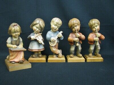 "5 Vtg Hand Carved Wood 9"" Figurines Children Playing Musical Instruments Germany"