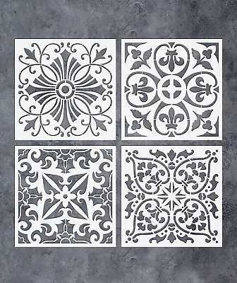GSS Designs Pack of 4 Stencils Set 6x6 Inch Tile Stencil Painting On Floor Tiles