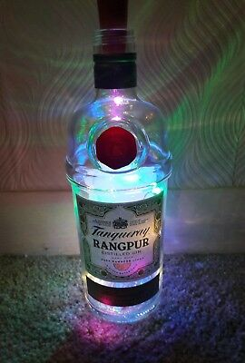 Empty Tanqueray Rangpur Gin Bottle lamp Light Gift Craft Upcycle Display Bar