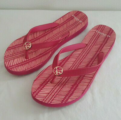 b4911fe1504a Coach  Alessa Pink Ruby Signature Rubber Thong Flip Flop Sandals Size 9 10