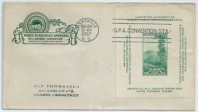 US FDC 797 S P A CONVENTION 1937 Asheville NC HOUSE OF FARNAM First Day  Cover