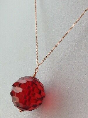Art Deco Cherry Red Faceted BAKELITE Rose Gold Vermeil Necklace