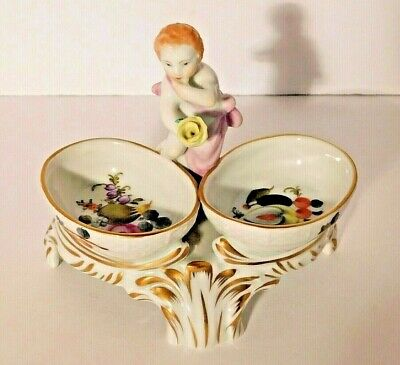 Vtg. Herend Cherub with Rose Double Salt Cellar Dip Relish Tray on Stand RARE