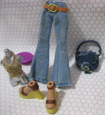 """Bratz 10"""" girl Doll Cloth/Boots Outfit-style flaunt it GOLD TOP JEANS WEDGE SET"""