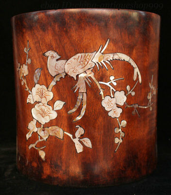 Ancient Chinese Huang Huali Wood Inlay Shell Flower Bird Pen Container Brush Pot