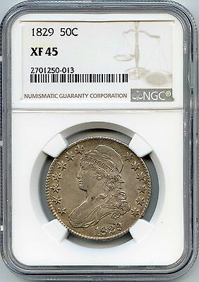 1829 50C Capped Bust Silver Half Dollar. NGC Graded XF 45. Lot #2356