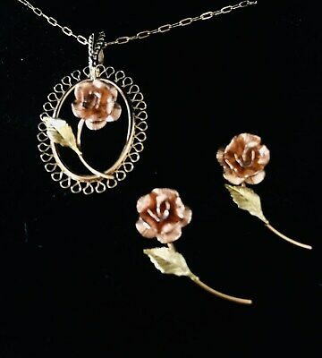 RARE Antique PENDANT Necklace + PINS (EARRINGS) 12k ROSE Gold GFRG Victorian Rev