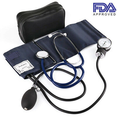 Aneroid Sphygmomanometer Stethoscope Kit Manual Blood Pressure BP Adult M Cuff