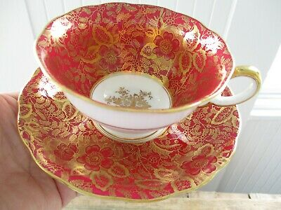 Vintage Minton Red Maroon Gold Tea Cup Saucer
