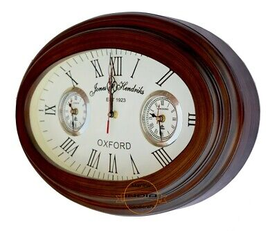 Oval Shape Wall Clock Vintage Style Antique Nautical World Time Wall Clock Decor