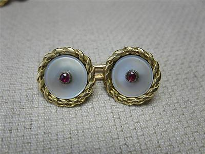 Art Deco Cuff Links 18K Gold Ruby Mother of Pearl French c1910 Edwardian Great!