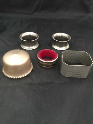 Napkin Rings Silver Coloured And Small Pot
