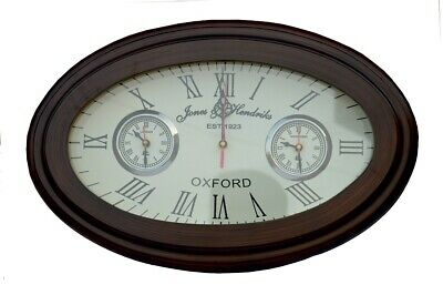 Wooden Wall Clock Vintage Style Oval Shape Antique Style World Time Wall Decor