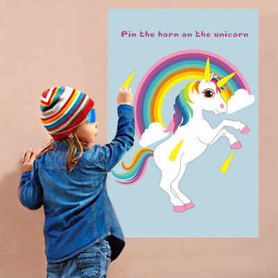 Party Childrens Kids Pin Tail Activity Stick The Horn On The UNICORN GAME