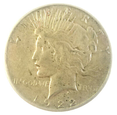 1922 - S Silver Peace Dollar 90% US Coin Circulated, SF Mint, Free Shipping