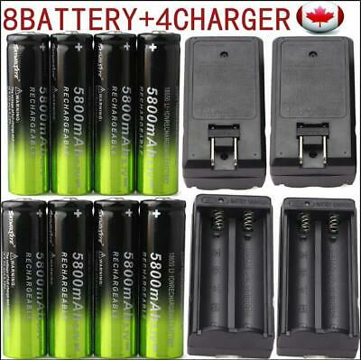 8X 18650 5800mAh Rechargeable Battery Li-ion 3.7V + 4pcs Smart Charger Canada