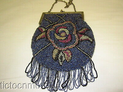 Antique Art Nouveau French Glass Beaded Beaded Fringed Purse Bag