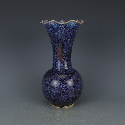Chinese Old Jun Kiln Flambe Purple Blue and Red Crackle Glaze Porcelain Vase
