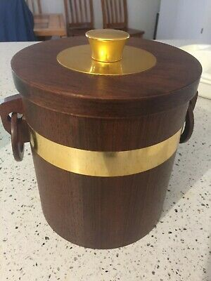 Vintage Teak Ice Bucket with anodised insert