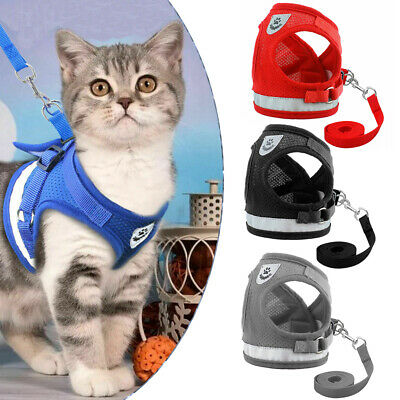 Breathable Mesh Small Dog Cat Pet Harness Leash Set Puppy Vest For Chihuahua USA